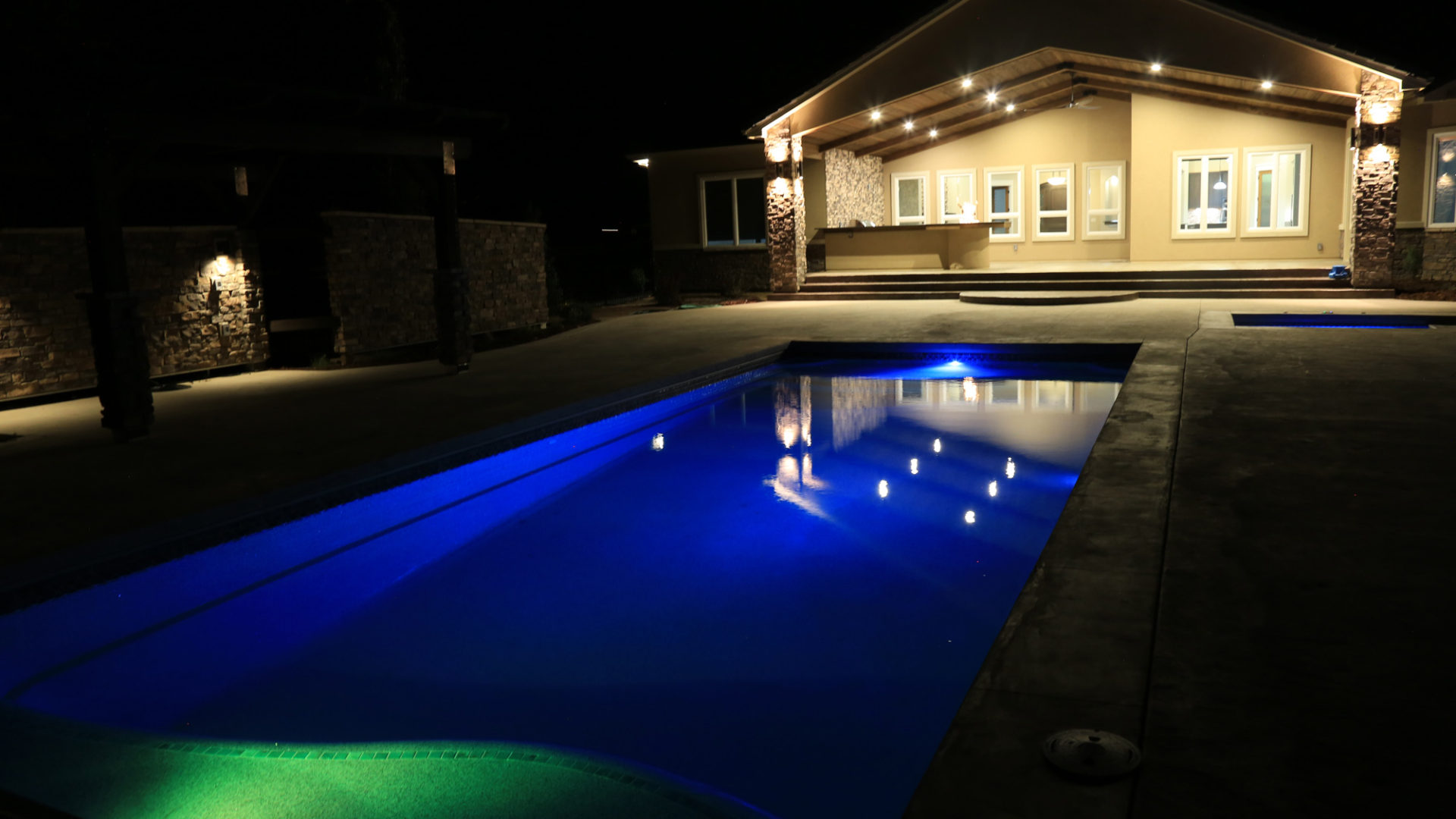 custom home with pool